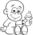 cartoon baby holding a baby bottle vector image vector image