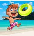 cartoon boy happily runs along the seashore vector image