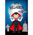 cartoon vampire standing with his bath mascot with vector image vector image