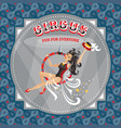 circus card with acrobat girl vector image
