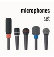 colorful microphones icons vector image