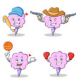 cotton candy character set with baseball cowboy vector image vector image