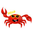 crab with yellow glasses on white background vector image