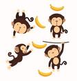 cute little monkey cartoon character set vector image vector image
