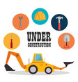 excavator machine with under construction icon vector image vector image