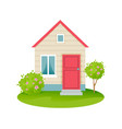 farm with house plot of land with vegetation vector image