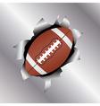 football thru metal sheet vector image vector image
