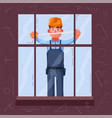 funny engineer is measures a window vector image vector image