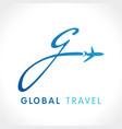 g fly travel company logo concept vector image