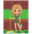 girl cleans vector image vector image