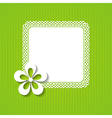 green background with a frame and a flower vector image