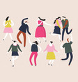 group young happy dancing people vector image vector image