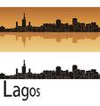 Lagos skyline in orange background vector image vector image