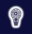 light bulb icon with gear wheels vector image vector image
