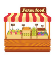 market wood stand with farm food and vegetables vector image vector image