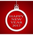 New Year Red Background Christmas Ball 2017 vector image