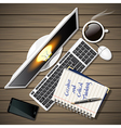 notebook and computer with mobile phone and coffee vector image vector image