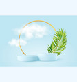 realistic blue product podium with golden round vector image vector image