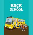 school children getting on schoolbus vector image