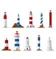 sea lighthouse icons nautical navigation vector image vector image
