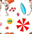 Seamless background with people in swimsuits vector image