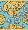 seamless pattern with old nautical map vector image vector image