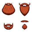 set beard in engraving style on white vector image vector image