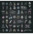 set hand drawn artistic christmas doodle icons vector image