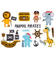 set isolated animals pirates and other elements vector image