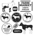Set of premium beef labels badges and design vector image vector image