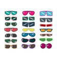 set of sunglasses on white background vector image