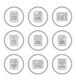 set round line icons calculator vector image vector image