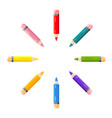 short colored pencils lie on a white background vector image
