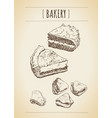 sketch on notebook sheet pastries pies vector image