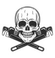 skull builder construction with crossed wrenches vector image