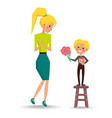 son greets mother with womens day vector image
