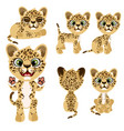 spotted tiger cub in different poses and mood vector image vector image