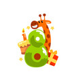 sweet funny giraffe and number eight happy vector image vector image