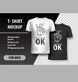t-shirt template fully editable with ok gesture vector image vector image