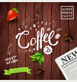 wooden background with morning coffee concept vector image vector image