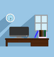 interior office room with desk and window with vector image