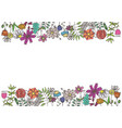 bright rectangular frame with doodle flowers vector image vector image