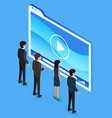 business partners looking at screen with video vector image