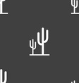 Cactus icon sign Seamless pattern on a gray vector image vector image