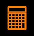 calculator simple sign orange icon on black vector image