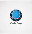 circle drop logo with red dot techno concept icon vector image