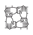 collaboration four human hands covering each other vector image vector image