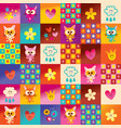 cute kittens hearts and flowers pattern vector image vector image