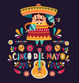 cute mexican man with maracas and mexican guitars vector image vector image