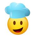 emoticon wearing chef hat vector image